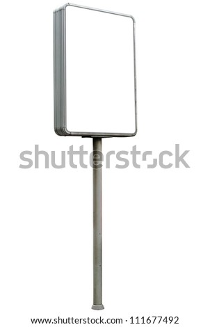 Blank advertising billboard on white background