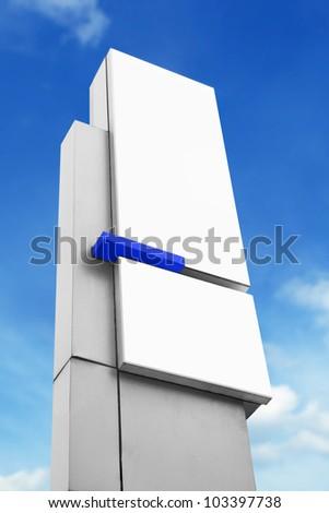 blank advertising corporate billboard sign under blue sky