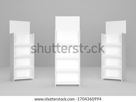 Blank Advertising Corrugated Supermarket Cardboard Product Display Shelf Shelf. 3d Render Illustration.