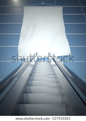 Blank advertising flag and modern moving escalator stairs #127410365