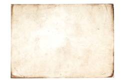 Blank aged paper sheet as old dirty frame background with dust and stains. Front view. Vintage and antique art concept. Detailed closeup studio shot. Toned
