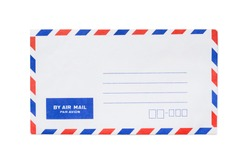Blank airmail envelope isolated