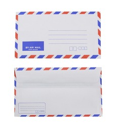 Blank airmail envelope isolated on white background.