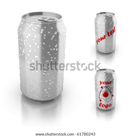 blank aluminium can with water drops isolated over white, suitable for placing your text or logo