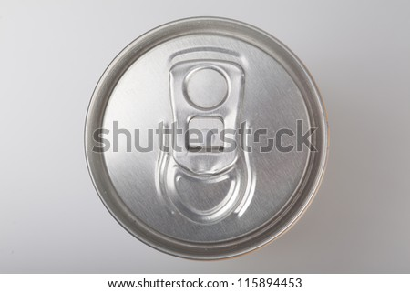 Blank aluminum soda can on a aluminum background