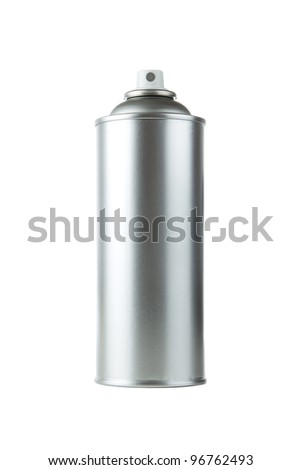 Blank aluminum spray paint can over white background