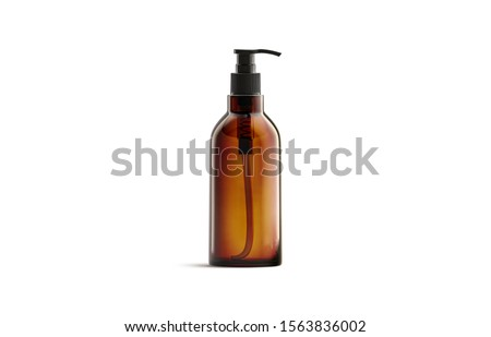 Blank amber glass pump bottle for oil mockup isolated, 3d rendering. Empty salve or balsam jar mock up, front view. Clear brown tube with oily or foam for spa healthcare mokcup template. Stock fotó ©