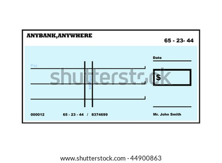 Blank American check illustration with copy space, isolated on white background. - stock photo