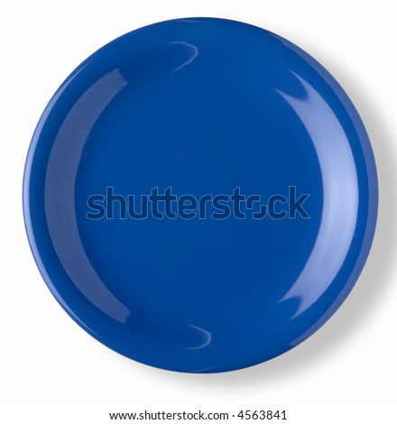 blank and empty blue dish over white background with shadow