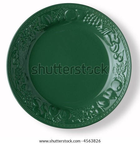 blank and empty green dish over white background with shadow