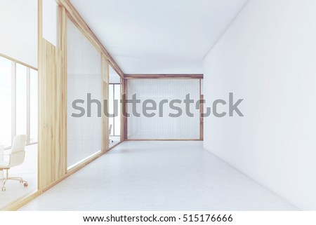 Blank and empty office corridor with white and glass walls. Wooden door is leading to a meeting room. 3d rendering. Mock up. Toned image #515176666