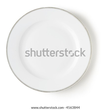 blank and empty white dish over white background with shadow
