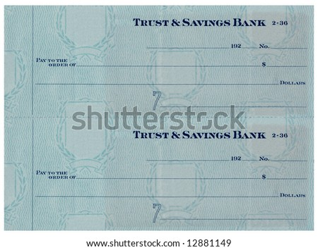 Blank antique check without numbers.