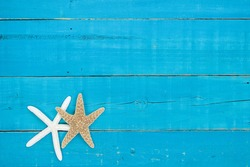 Blank antique rustic teal blue wood sign with gold and white starfish border; blank  beach holiday sign with painted copy space
