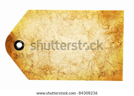 Blank antiqued beige gift tag isolated on a white background with clipping path