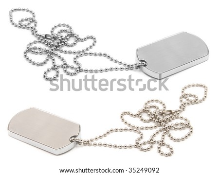 blank army dog tags isolated on white background - insert your own name or message