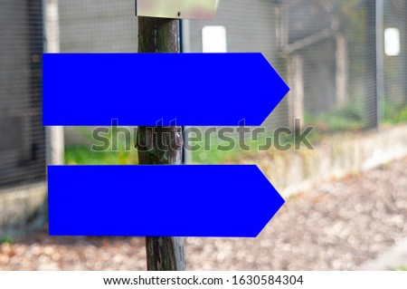 Blank arrow signboards in the park