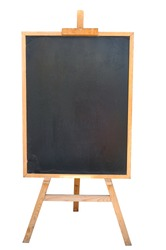 Blank art board, wooden easel, front view, isolated on white, with clipping path