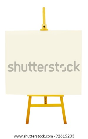 Blank artboard with easel or holder isolate on white background with clipping path