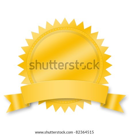 Blank award medal with ribbon