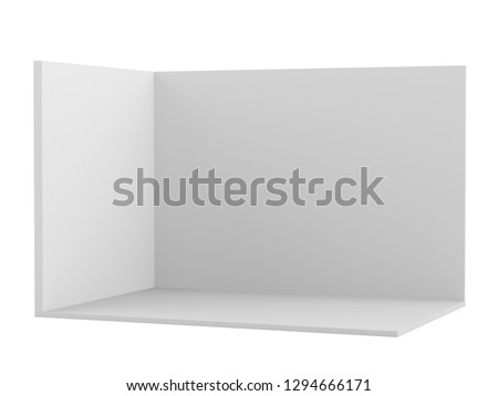 Blank backdrop exhibition wall. Empty three walls room with space for customizing. 3D render