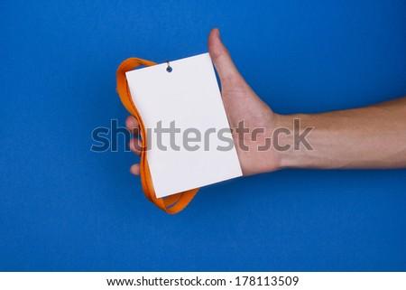 Blank badge on blue background