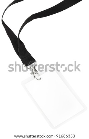 Blank badge or ID pass isolated on white background, clipping path included