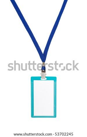 Blank badge with blue neckband on white background - stock photo