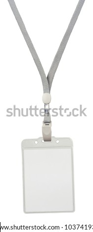 Blank badge with grey neckband. Object is isolated on white background without shadows.