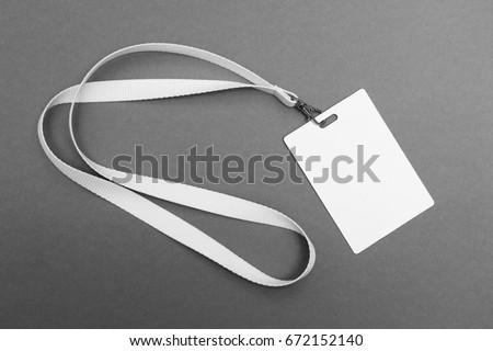 Blank badge with lanyard on grey background #672152140