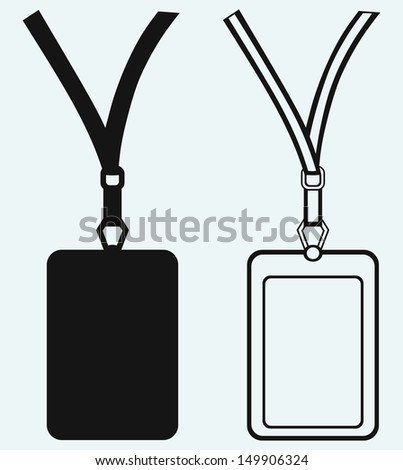 Blank badge with neckband isolated on blue background. Raster version