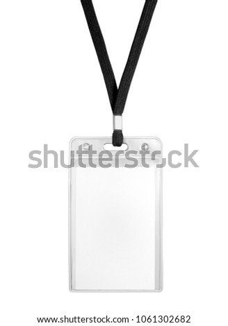 Blank bagde mockup isolated on white. Plain empty name tag mock up hanging on neck with string. Nametag with black ribbon and transparent plastic paper holder.