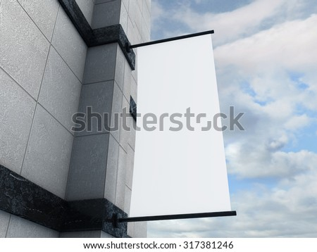 Blank banner flag on a wall