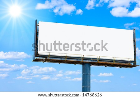 blank banner for your ad and the sun   -  of \