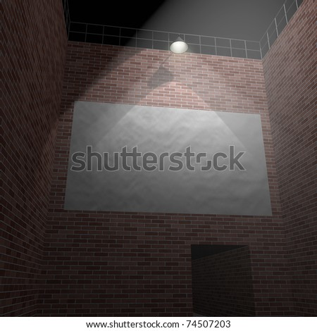 Blank banner on the brick wall