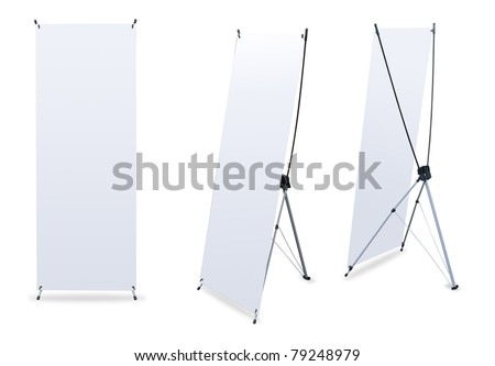 Blank banner X-Stands tree displays for design work #79248979