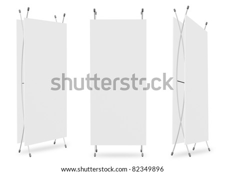 Blank banner X-Stands tree displays for design work (3D render)