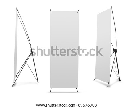 Blank banner X-Stands tree displays isolated over white background #89576908