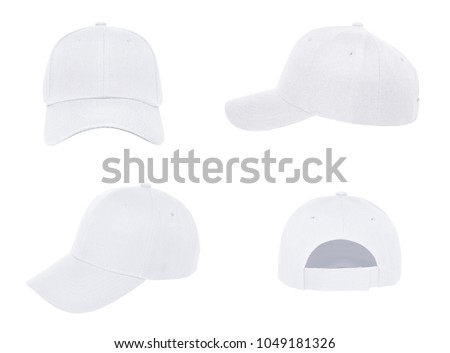 Blank baseball cap 4 view color white on white background - Shutterstock ID 1049181326