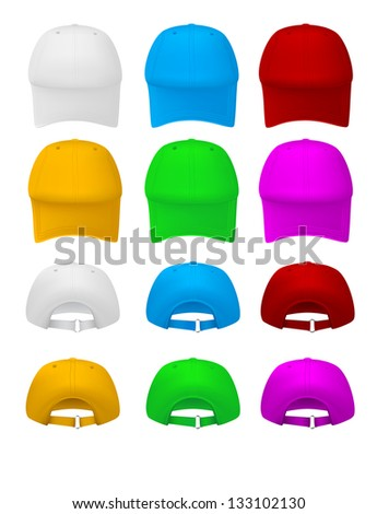 Blank baseball hat template. Front and rear views.