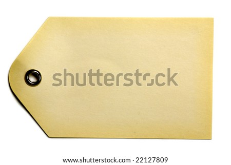 Blank beige gift tag isolated on a white background