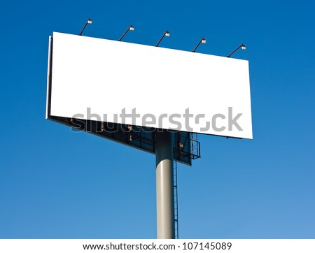 Blank big billboard over blue sky background, put your text here