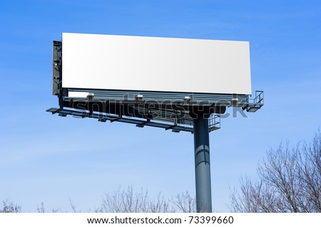 Blank big billboard over blue sky, put your own text here