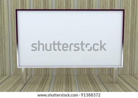 blank big box display new design aluminum frame template for design work, on wood background.