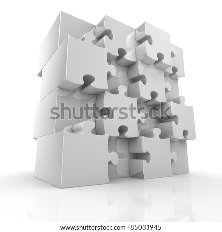Blank big jigsaw puzzle - stock photo
