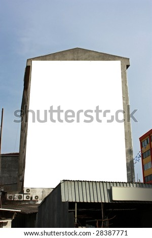 Blank Big Vertical Wallscape Billboard - Including clipping path around blank area.