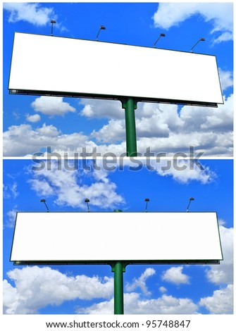 Blank billboard against the blue sky. Collage.