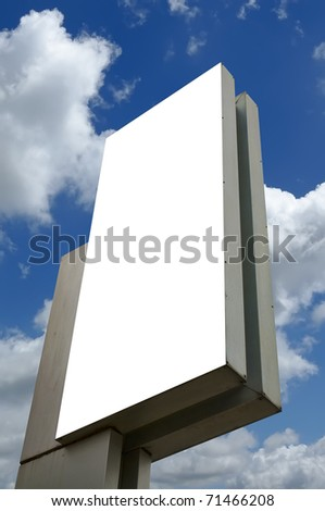 Blank billboard againts blue sky, you can put your text in here - stock photo