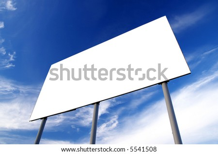Blank billboard and cloudy sky - stock photo