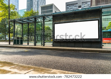 Blank billboard at bus stop in city of China